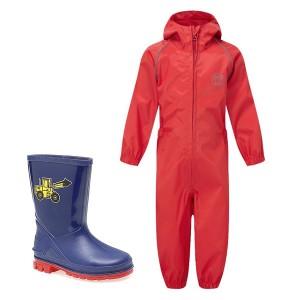 Red Kids Waterproof Suit &...