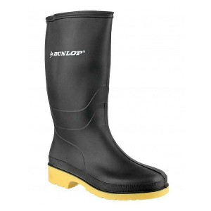 Black Childrens Dunlop Wellies